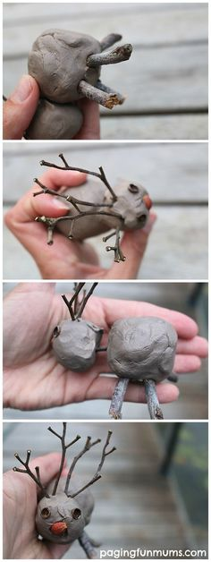 Nature Inspired Christmas Craft - using clay, twigs and other nature items! Nature Inspired Reindeer Craft such a cute and frugal Christmas craft idea!This Nature Inspired Reindeer Craft was such a special keepsake made by my 2 year old son. Christmas Decorations For Kids, Frugal Christmas, Christmas Crafts For Toddlers, Christmas Clay, Christmas Activities, Kids Christmas, Xmas, Christmas Presents, Holiday Crafts