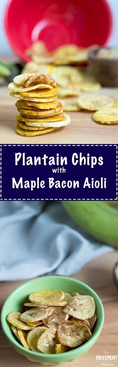These baked plantain chips are easy to prepare, quick to cook and make a healthy grab and go snack. This recipe tastes heavenly with the maple aioli! TheMovementMenu.com