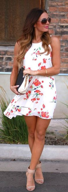 Floral white mini dress summer fashion