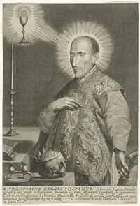 De vreemde eend in de bijt van de toch wel gewelddadige familie Borgia is Franciscus Borgia. Deze achterkleinzoon van paus Alexander VI was onderkoning van Catalonië en hertog van Gandia onder keizer Karel V. Toen zijn vrouw in 1546 overleed besloot Franciscus, op dat moment 36 jaar oud, zijn verdere leven te wijden aan God. Hij trad toe tot de orde der Jezuïeten en werd op veertigjarige leeftijd tot priester gewijd. Hij werd in 1671 heiligverklaard.
