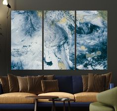 Large Abstract Wall Art Canvas Print Canvas Print - Tall 3 Panel / 3 - 18x36