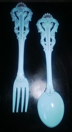 "Set of 2 XL vintage fork & spoon wall decor set from the 1970s, ""Breakfast at Tiffanys"" painted Tiffany blue then hand silver gilded... For Sale $100/set"