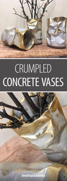 Crumpled Concrete Vases #home #decor