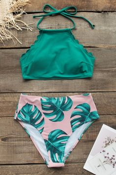 Teal And Palm Print High-neck Halter Bikini Set Swimsuit Two Pieces Swimwear Cute Bathing Suits Bikini Halter Highneck Palm Pieces print set Swimsuit swimwear teal Bathing Suits For Teens, Summer Bathing Suits, Swimsuits For Teens, Bathing Suits One Piece, Two Piece Swimwear, Cute Bathing Suits, Cute Swimsuits, Women Swimsuits, High Waist Bathing Suits