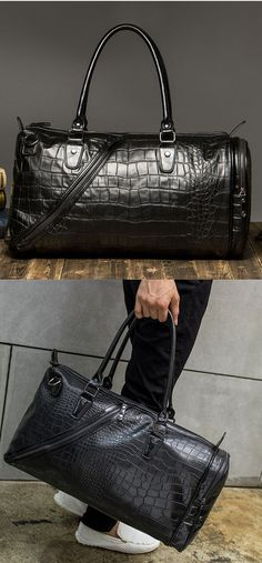Weekender Bag, Haular Overnight Travel Carry On Duffel Tote Holdall Bag [Brass Finishing] PU Leather - Black bagail.com