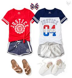 Ready to shine in red, white and blue! - Ready to shine in red, white and blue! Source by iluvuvamo - Kids Outfits Girls, Girl Outfits, Cute Outfits, Fashion Outfits, Justice Clothing, Justice Outfits, Short Outfits, Summer Outfits, Ropa American Girl