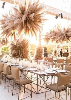 Pampas Grass Wedding Ideas for the Boho Glam Bride - Luxury wedding tablescape Wedding Reception Decorations, Wedding Table, Wedding Ceremonies, Wedding Receptions, Reception Halls, Chandelier Wedding Decor, Bohemian Wedding Reception, Luxury Wedding Decor, Reception Ideas