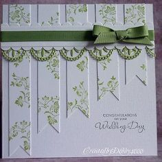 I like the way the paper strips get shorter to leave a place for a sentiment #weddingcards