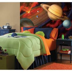 I love this Outer Space theme for a Boys Bedroom - My 5 year old would love this. His bedroom is under construction and  this pin is giving me some great ideas - Bedroom Decor for boys