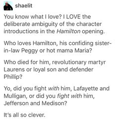 Lin is a genius. He even wrote in the Hamilton book in the notes that he was particularly proud of what he did here, as he should be...