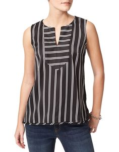 TOMMY HILFIGER Striped Split Neck Blouse
