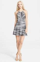 Parker 'Orion' Print Mesh Stripe Silk Fit & Flare Dress