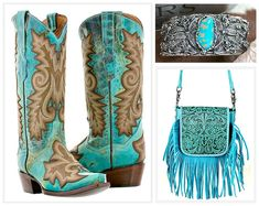 COWGIRL STYLE BOOTS Embroidered Tan & Turquoise GENUINE LEATHER Snip Toe Western Boots w/ Turquoise Silver Cuff & Tooled Leather Fringe Bag #boots #cowgirl #western #leather #embroidery #turquoise #teal #brown #tan #cuff #bracelet #silver #fringe #crossbody #bag #tooled #rodeo #horse #women #ladies #fashion #outfit #horseriding #barrelracing #onlineshopping #montanawest Cowgirl Style, Cowgirl Boots, Western Boots, Riding Boots, Cowgirl Fashion, Western Theme, Boho Fashion, Fashion Ideas, Leather Fringe