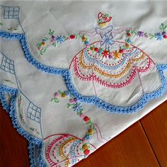 Vtg Embroidered Cotton Sheet Crocheted Scalloped Edge 90x102 King Floral Maiden | eBay