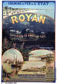 chemins de fer de l'état - Royan - 1910 - illustration de Gustave Fraipont - Pub Vintage, Vintage Art, Ville France, Railway Posters, Faber Castell, Vintage Travel Posters, Illustrations And Posters, Travel Around The World, Vintage Images