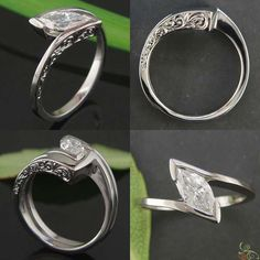 Custom shaped wedding set in palladium with intricate hand engraving @Green Lake Jewelry Works