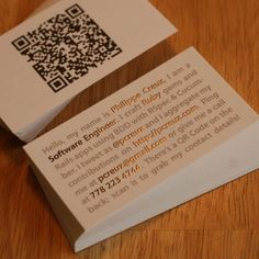 I actually think this little mini resume style business card is genius.. tells people exactly what they need to know in a classy interesting way.
