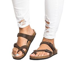 807b21977 Ermonn Womens Thong Flat Sandals Gladiator Buckle Strappy Cork Sole Summer  Slides B(M) US