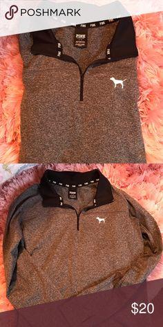 VS Pink Zip Size L. Heathered grey and black zip up. Great condition PINK Victoria's Secret Tops Sweatshirts & Hoodies