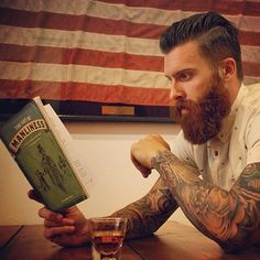 Levi Stocke - full thick red beard and mustache beards bearded man men mens' style summer fashion clothes tattoos tattooed redhead ginger books reading handsome bearding #beardsforever