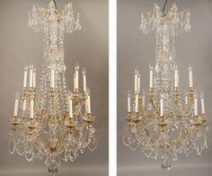 A Very Fine and Palatial Pair of Late 19th Century Gilt Bronze and Crystal 24 light Chandeliers