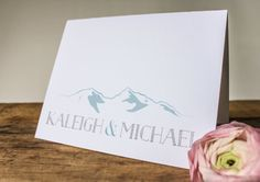 Personalized Mountain Stationery Card / Thank You Cards / Rustic Mountain Wedding / Natural, Rustic by Four 13 Designs