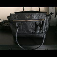 Kate Spade Handbag Black, crackled leather Kate Spade Handbag. Excellent condition, only used a couple of times. kate spade Bags Shoulder Bags