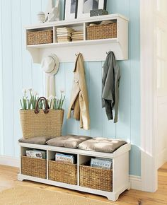 A shelving and storage system with hooks, cubbies and a bench is the perfect solution for small spaces.                                                                                                                                                     More