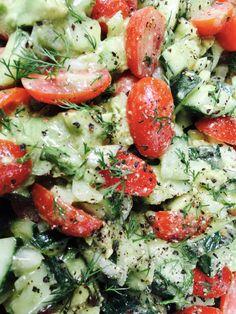 Avocado Tomato Cucumber Salad Recipe with Red Wine Vinaigrette on montanahappy.com