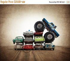 CHRISTMAS SALE Bigfoot Car Crush Photo Print, #art #photography @EtsyMktgTool http://etsy.me/2ixLthC #boysroom #trucks #boysnurserydecor