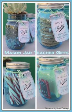 Teacher Appreciation Gift Ideas in a Mason Jar so cute!