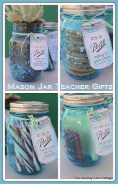 Teacher Appreciation Gift Ideas in a Mason Jar so cute in the new blues! #teacherappreciation