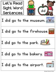 Primer Sight Word Sentences: Kinder Sight Words by Bilingual Teacher World Sight Word Sentences, Sight Word Worksheets, Sight Word Activities, Literacy Activities, Literacy Centers, Phonics Reading, Kindergarten Reading, Teaching Reading, Guided Reading