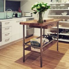 Rustic Industrial Kitchen Prep Counter Westelm Use As - West elm kitchen island
