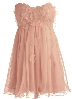 Peach Petal Frock: Features an elegant strapless cut defined by a darling sweetheart bustline, dozens of sheer organza petals clustered at the bodice and cascading down the front, centered back zip closure, and a twirl-worthy chiffon skirt to finish.
