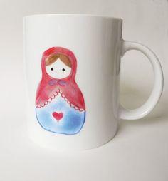 Babushka doll Matryoshka hand painted porcelain cup