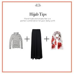 Dare yourself to try mixing floral with stripes for your daily outfit, ladies! Ootd Hijab, Hijab Chic, Hijab Outfit, Street Hijab Fashion, Striped Tee, Capsule Wardrobe, Stripes, Hijab Styles, Photo And Video