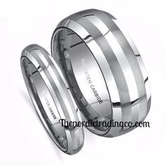 New for 2017 Couples Wedding Engagement Anniversary Ring Set Silver Tungsten Carbide Double Brushed Lines Very Elegant Affordable Luxury W/ 5 thru 10  M/ 8 thru 14