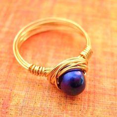 MettaMoon Blue Pearl Gold Love Ring