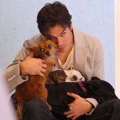 How cute is Ian Somerhalder with these puppies? See more pictures of his Earth Day campaign with Josie Maran Cosmetics here: