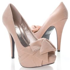 Women's NYDIA119 Open Peen Toe Bow Platform High Heel Stiletto Pump Shoes, Nude Beige Faux Suede