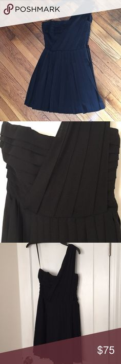 Rachel Roy pleated black one shoulder dress LBD! Fantastic night out or occasion dress. Strapless bodice with one shoulder design, pleated detail. 100% Polyester.  Size 4. RACHEL Rachel Roy Dresses One Shoulder