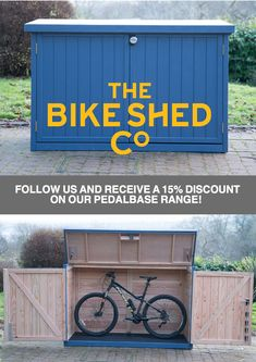 Solid and stylish bike sheds handmade in Bristol for UK delivery. Available for 3 or 5 bikes, with 15% off! Follow us and quote PIN17 for discount.