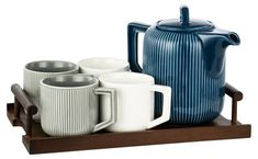 Make tea time, Chic O'clock with this 5 piece tea set from Hotel Collection. How To Make Tea, Side Plates, Cereal Bowls, Cup And Saucer Set, Sugar Bowl, Tea Set, Tea Time, Latte, Porcelain