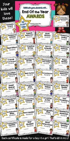 End of Year Awards  35 Superlative certificates your students will love!