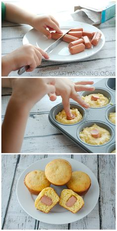 Easy Jiffy Corn Dog Muffin recipe for kids to make themselves! These are gone in 5 minutes every time! Easy Jiffy Corn Dog Muffin recipe for kids to make themselves! These are gone in 5 minutes every time! Kids Cooking Recipes, Easy Cooking, Kids Meals, Healthy Cooking, Kids Party Snacks, Appetizers For Kids, Parties Food, Party Appetizers, Party Games