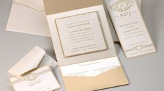 Keisha & Jerome Wedding Invitation - We can recreate this wedding invitation template for your in digital press printing, thermography, or letterpress, and change the colors to suit your event. Please call us at Indigo Envelope! We have been an Envelopments dealer for seven years.