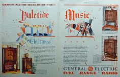 General Electric Radio 30 s Print ad  Color Illustration  Scarce old ad   Christmas Music  1932 Art