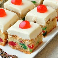 Cherry Cake Squares, inspired by a local Holiday favourite! Cherry Cake Squares are based upon a Newfoundland favourite Christmas cake. These easy cookie bars are quick to prepare, freeze well, and are always a hit. Baking Recipes, Cookie Recipes, Dessert Recipes, Food Cakes, Cupcake Cakes, Fruit Cakes, Newfoundland Recipes, Rock Recipes, Cherry Cake