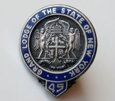 Antique Grand Lodge of the State of New York Masonic Silver  Blue Enamel Lapel Pin